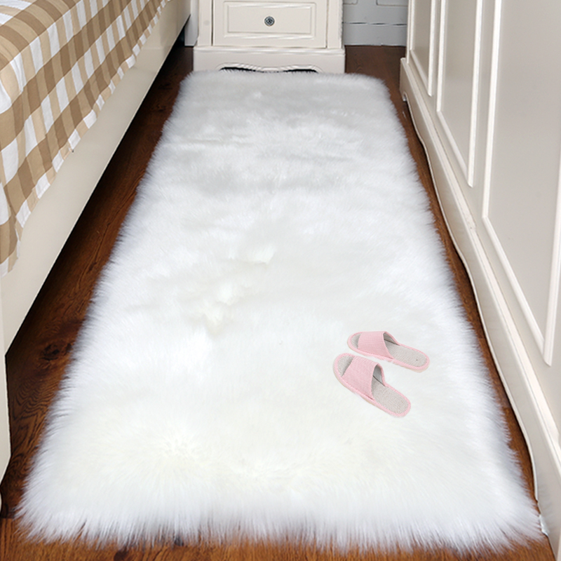 Artificial Sheepskin Plain Fluffy Rug Soft Home faux wool Carpet Chair Cover Rugs Bedroom Blanket Mat For Kids Living Room Tapis