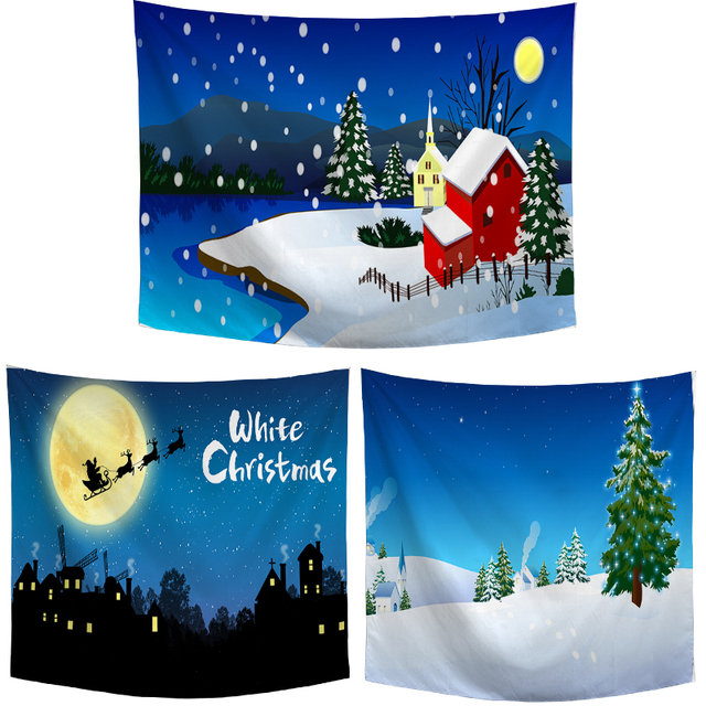 Merry Christmas Beautiful Tapestry Funny Cute Snowman Santa Claus Snowflake Print New Year Kids Room Wall Hanging Decor Blanket