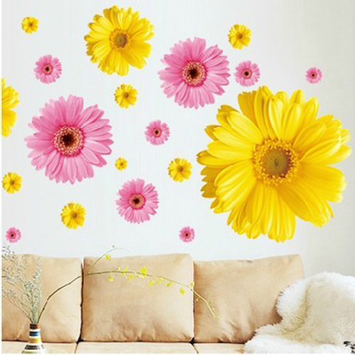2 set amovibile decalcomanii din PVC roz și galben flori decorative - Decoratiune interioara - Fotografie 1