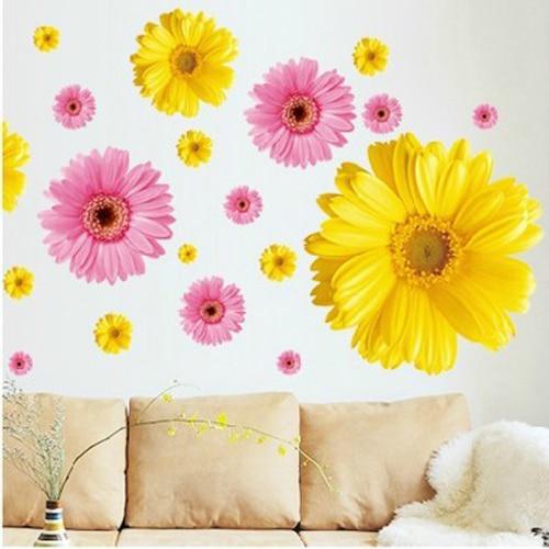 2 Set Abnehmbare PVC-Aufkleber Rosa und Gelb Dekorative Blumen - Wohnkultur