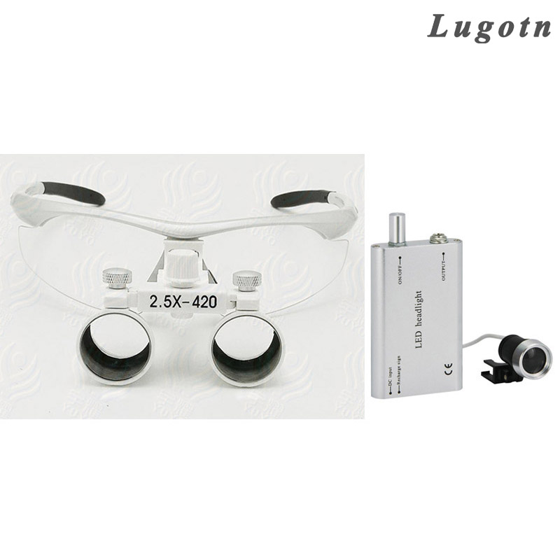 2.5X enlarging glasses hot selling dental surgical operation magnifier wholesale price Dentist loupe with LED Headlight