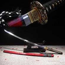 Grade A Japanese Katana Folded Steel Clay Tempered Handmade Sword Real Hamon Shell Scabbard Sharpness Ready for Battle