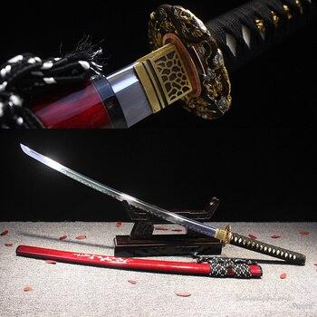 Grado A, Katana japonesa, plegable, de arcilla de acero templado, hecha A mano, espada Real, hamón, concha, vaina, Sharpness, listo para la batalla