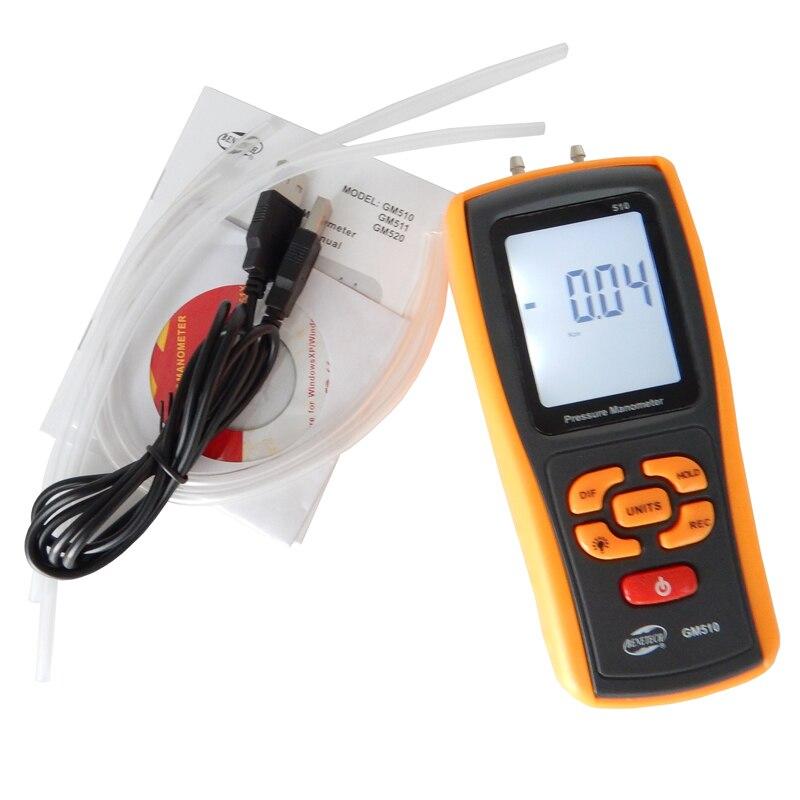 Handheld Digital Pressure Meter Manometer +/- 10kPa GM510 Pressure Gauge Tester USB Manometro with retail box  цены
