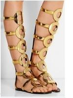 Summer Cut Out Gold Gladiator Sandals Women Circle Knee High Gladiator Sandals Knee High Summer Boots Womens Platform Sandals