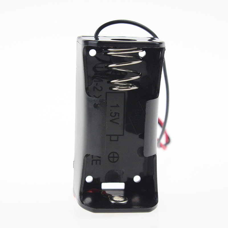 High Quality Cheap 1pcs/lot No 2 Battery Storage Box Plastic Black Rechargeable Battery Holder Protective Case With Wire Lead