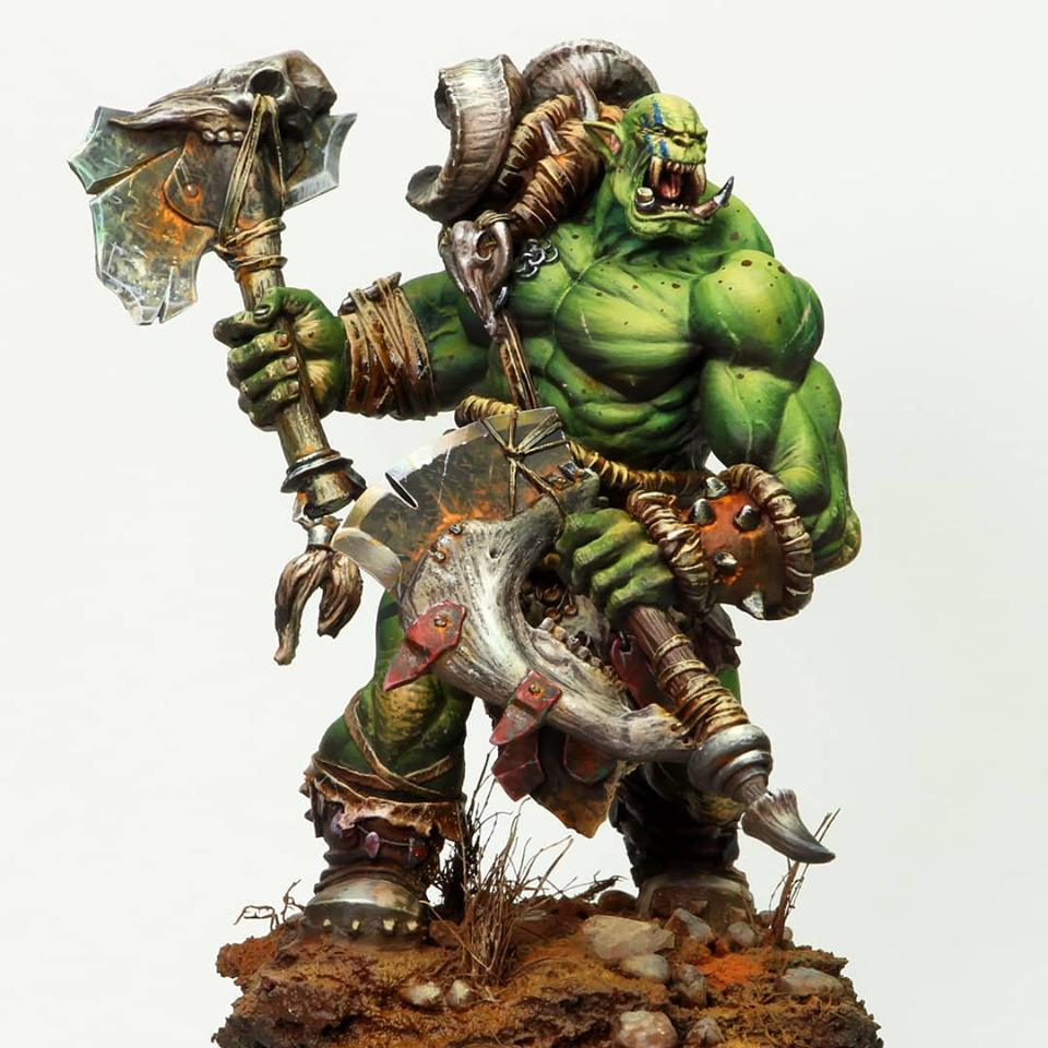 1/24 75MM Ancient Orc Templar With Big Base 75MM    Resin Figure Model Kits Miniature Gk Unassembly Unpainted