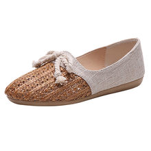 Women Flats Casual Round Toe Spring Lazy Loafers Ladies Fashion Knit Cane Hollow Out Flat Shoes Summer Shoes Brand Female*(China)