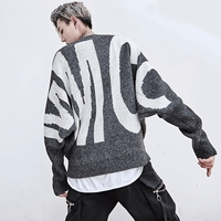 2018 New Men's Thick Winter Sweater Fashion Brand Mens Sweater Big Size Hip Hop Ripped Loose Striped Mens Sweater Wool Pullover