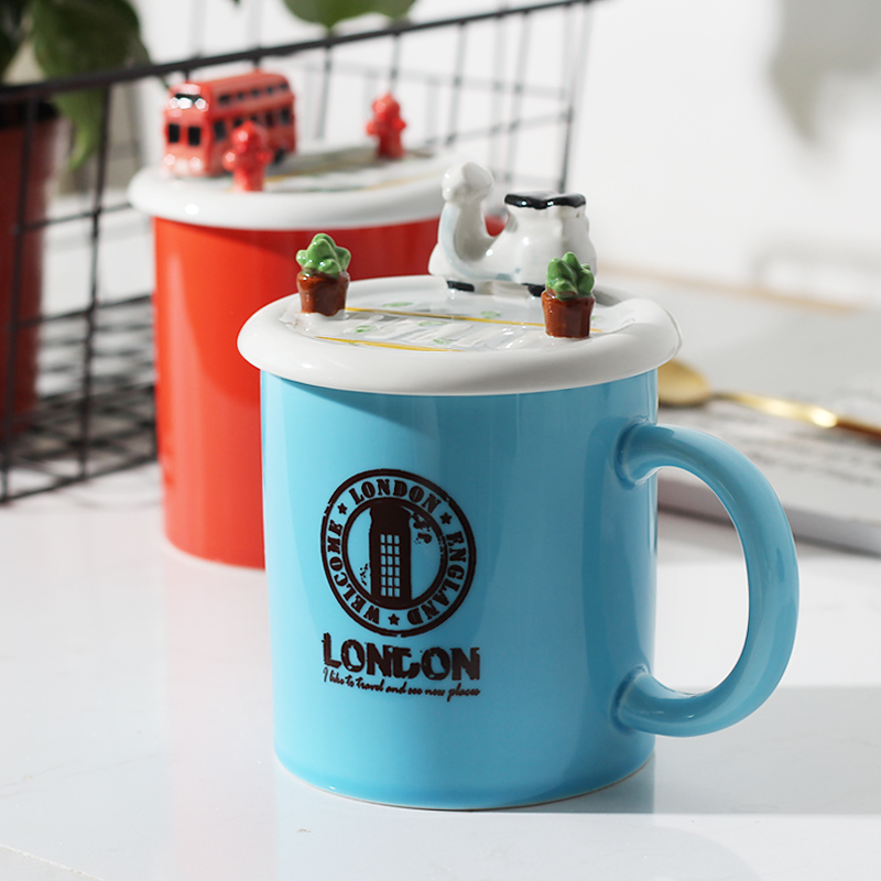 350ml Creative Personality Car lid Ceramic Mug Office Coffee Milk mug Boys gift Free shipping