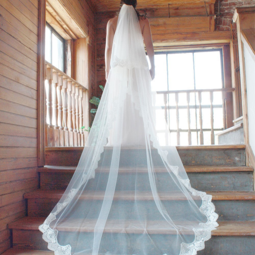 White/Ivory 2015 Wedding Veil 2 Layers Long Cathedral Length Lace ...