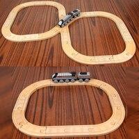 P134 gratis verzending instapmodel houten trein set trein puzzel speelgoed compatibel Thomas trein hout track kinderen speelgoed gift