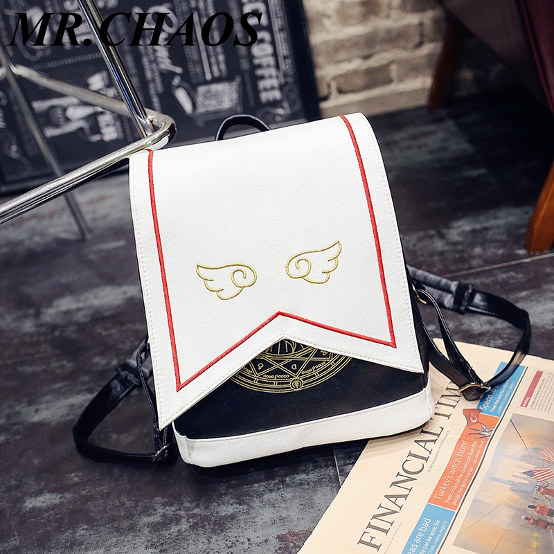 New Japanese Style Cute Backpack Embroidery Wings Sakura Magic Department Pu Shoulder Bag Cartoon Backpack Student School Bag To Adopt Advanced Technology Luggage & Bags Women's Bags