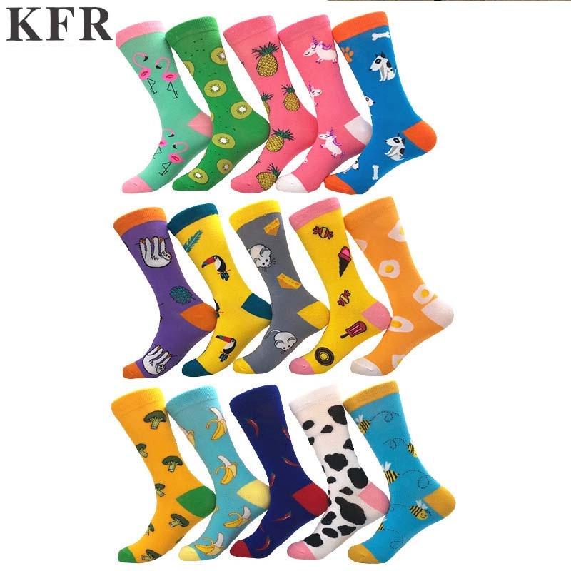 Fashion Happy   Socks   Cartoon animal colored fruit Men Funny   Socks   Woman Cotton Hip Hop Art Street Crew Harajuku Short   Socks