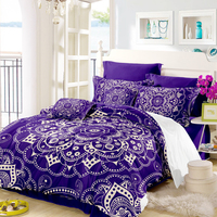 Bohemia Purple Mandala Bedding Set Flowers Print King Queen Duvet Cover Polyester Bed Linens Bed Sheet Cover Pillowcase 4Pcs D30