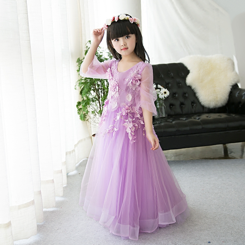 baby girl summer princess birthday party costume appliques dress children purple clothes for girls wedding party long dresses недорого