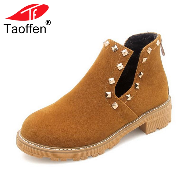 Taoffen 4 Colors Size 34-43 Ladies Ankle Boots Winter Fur Rivets Zipper Shoes Woman Vintage Flats Boots Ladies Footwear AutumnTaoffen 4 Colors Size 34-43 Ladies Ankle Boots Winter Fur Rivets Zipper Shoes Woman Vintage Flats Boots Ladies Footwear Autumn