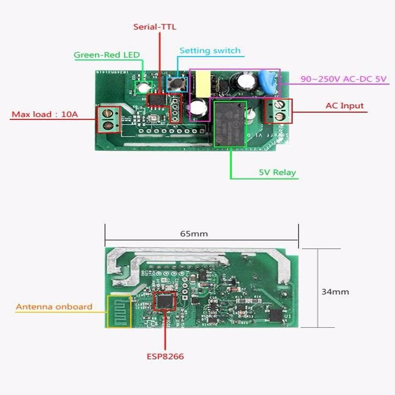 Interruptores e Relés wi-fi sem fio inteligente interruptor Voltage : 90-250v Ac(50/60hz)