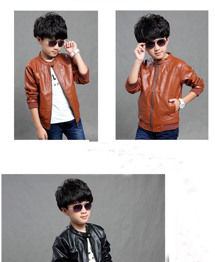 b416c83ca253 Retro Faux Leather Jackets European and American Style Children ...
