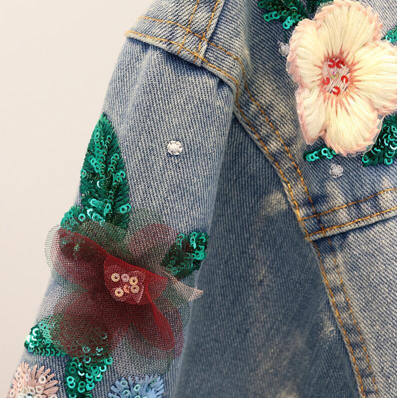 Longues Femmes Mode Lâche Automne Fleur Blue R85 À 2018 Manches Denim Perles Jeans Veste Paillettes Broderie Manteau 7wpqA7Y