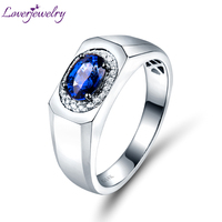 Natural Blue Sapphire Diamond Wedding Men's Ring Solid 14K White Gold Engagement Fine Jewelry Genuine Gemstone for Husband Gift