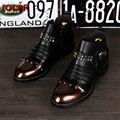 2017 New Black Men Pointed Toe Genuine Leather Rivets Punk Tide Fashion Warm Men Short Boot Martin Boots Work Boots For Male