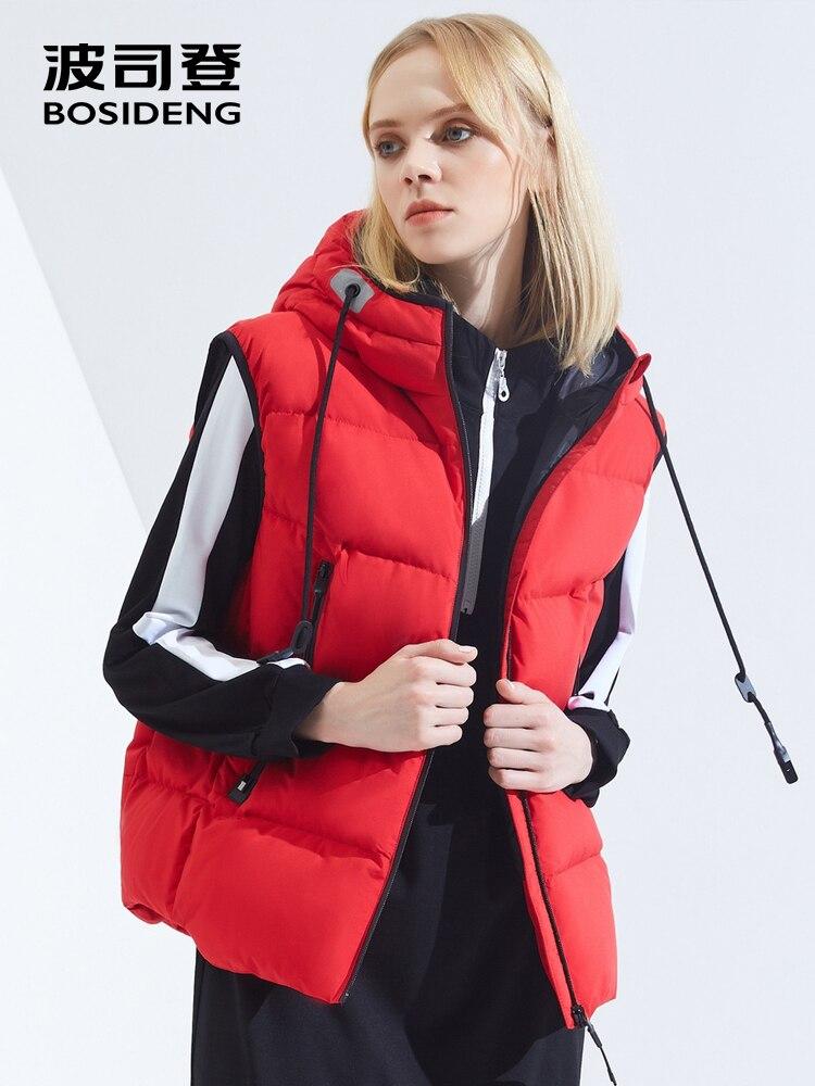 BOSIDENG bas gilet pour femmes à capuchon court léger de sport de mode gilet pour l'hiver précoce gilet imperméable B80132004