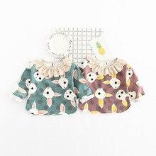 Cartoon Cute Rabbit Girls Clothing Baby Girl'S Clothes Children spring new arrival kids T Shirt cute ruffle collar sweatshirt
