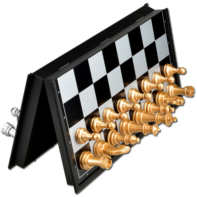 US $11.79 |International Foldable Magnetic Mini Board Golden Silver Chess  Checkers Set Backgammon Table Games Funny ToyJIRE84 In Chess Sets From ...