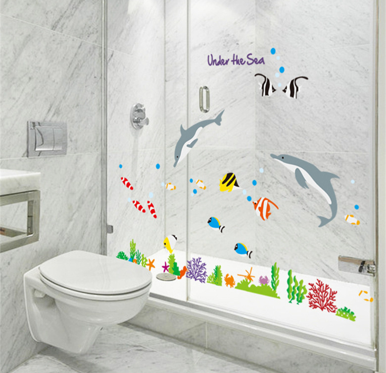 Sharks fish under sea wall stickers nursery bathroom home decor kids cartoon decals self for How do sharks use the bathroom