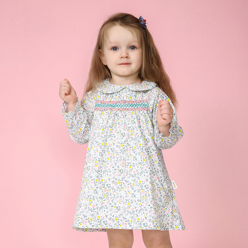 Summer Cotton Knee-Length Dresses Flower Baby Girl Pink&Green Dress Kawaii Baby Clothing For Little Girl Infant Smocking Dress