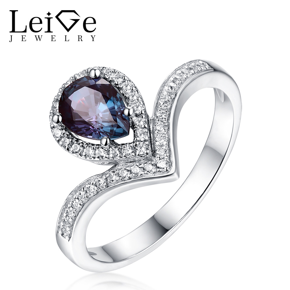 Leige Jewelry Alexandrite Ring Pear Cut  925 Sterling Silver For Women Wedding Engagement Promise Ring Fine Ring