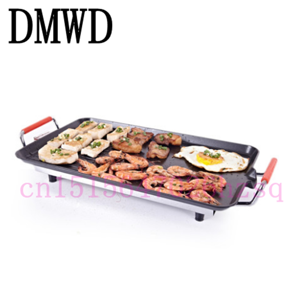 DMWD BBQ commercial household smokeless electric hotplate nonstick grill Korean electric household Teppanyaki pan electric oven 220v 2800w commercial home electric barbecue grill oven oil free and smokeless bbq grill pan teppanyaki fast heating