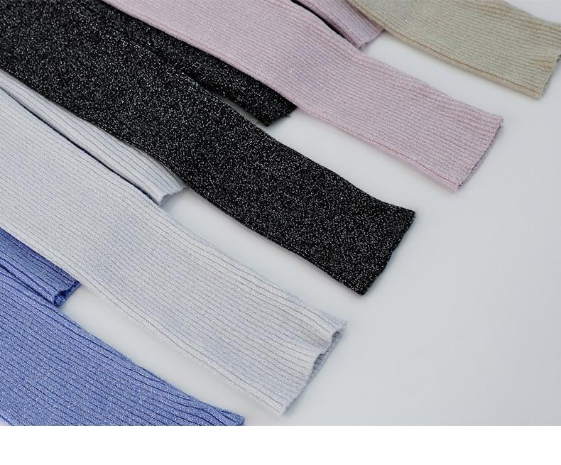 Shiny Lurex Autumn Winter Sweater Women Long Sleeve Pullover Women Basic Sweaters Turtleneck 19 Korean Style Knit Tops Femme 4