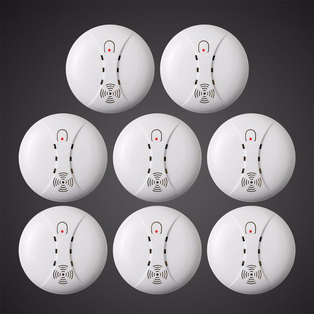 8pcs Wholesale Wireless Sensitive Photoelectric Smoke Detector Fire Sensor Cordless For Wireless Security Home Alarm System