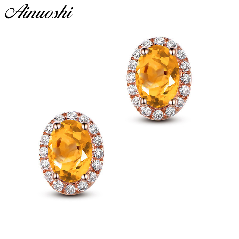 все цены на AINUOSHI Natural Citrine Stud Earring 4ct Oval Cut Gems Engagement Party Women Jewelry Yellow Gold Color 925 Silver Stud Earring