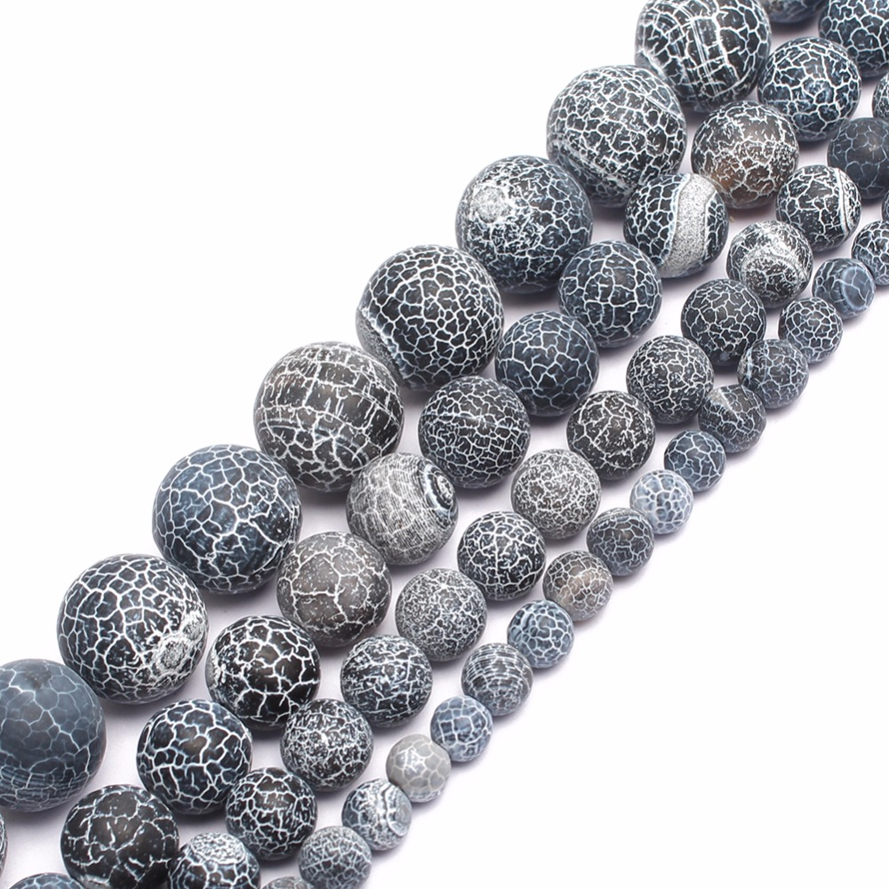 Wholesale Frost Spider Web Black Agates Round Beads For Jewelry Making 15.5