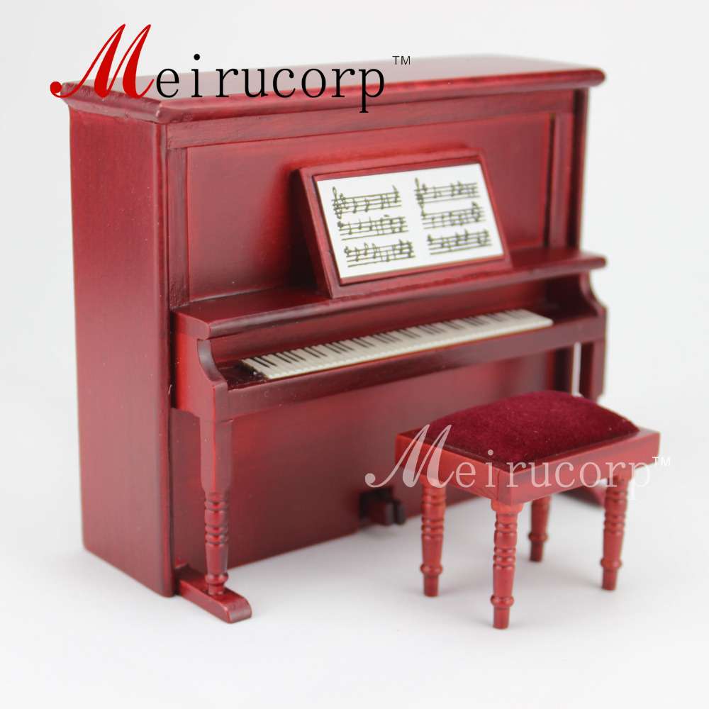 dollhouse 1:12 scale miniature Music equipment Lovely Handmade piano&Stool Set fit 1 6 12 dolls scene accessories piano red wood transparent piano stool set