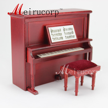 dollhouse 1:12 scale miniature Music equipment Lovely Handmade piano&Stool Set dollhouse 1 12 scale miniature furniture exquisite white hand piano and stool