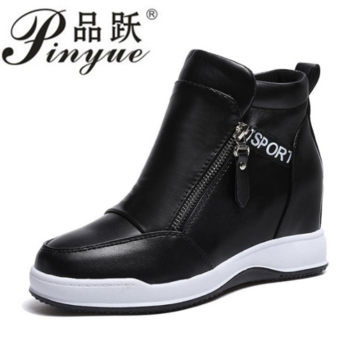 Quality Women Wedge High Heels Shoes White Black Ankle Boots Platform Sneakers Height Increasing Walking Shoes wdzkn 2017 platform wedge casual shoes women high heels black white height increasing women shoes female chaussure size 35 40