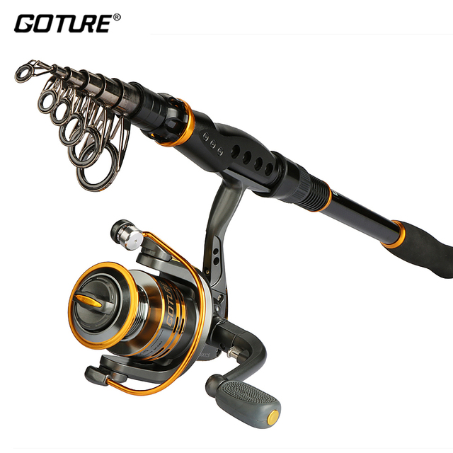 Goture Rod Reel Combo 2.1-3.6M Carbon Fiber Telescopic Rod GT3000S Spinning Reel Fishing Accessories