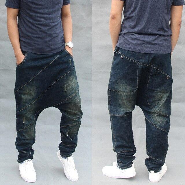 054eaa853a US $34.06 40% di SCONTO|Alla moda Allentati Baggy Jeans degli uomini Casual  Denim Pantaloni Hip Hop Harem Dei Jeans Elastico In Vita con Coulisse ...