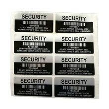 1000 stücke Silber Farbe NICHTIG Sicherheitsetiketten Entfernt Tamper Evident Garantie Dicht Aufkleber Mit Seriennummer Und Barcode