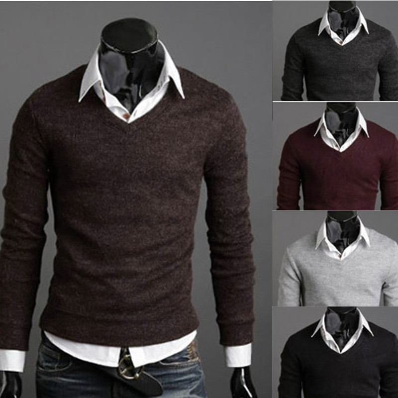 Fast delivery new 2014 men retro sweater v neck polo for Mens sweater collared shirt