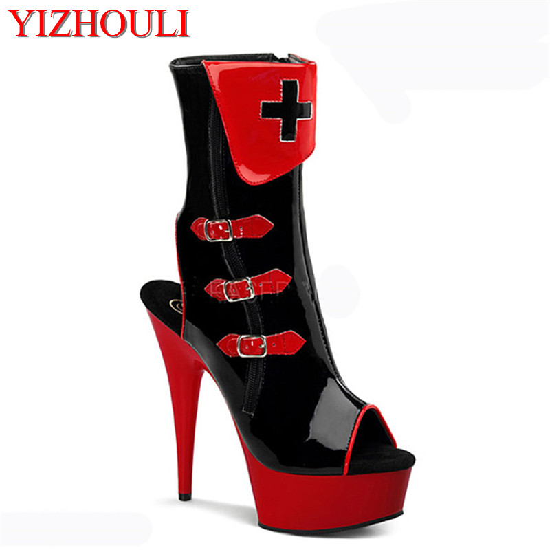 Unique sexy color block decoration open toe low boots 15 high-heeled shoes cd plus size boots cos player sandals for womenUnique sexy color block decoration open toe low boots 15 high-heeled shoes cd plus size boots cos player sandals for women