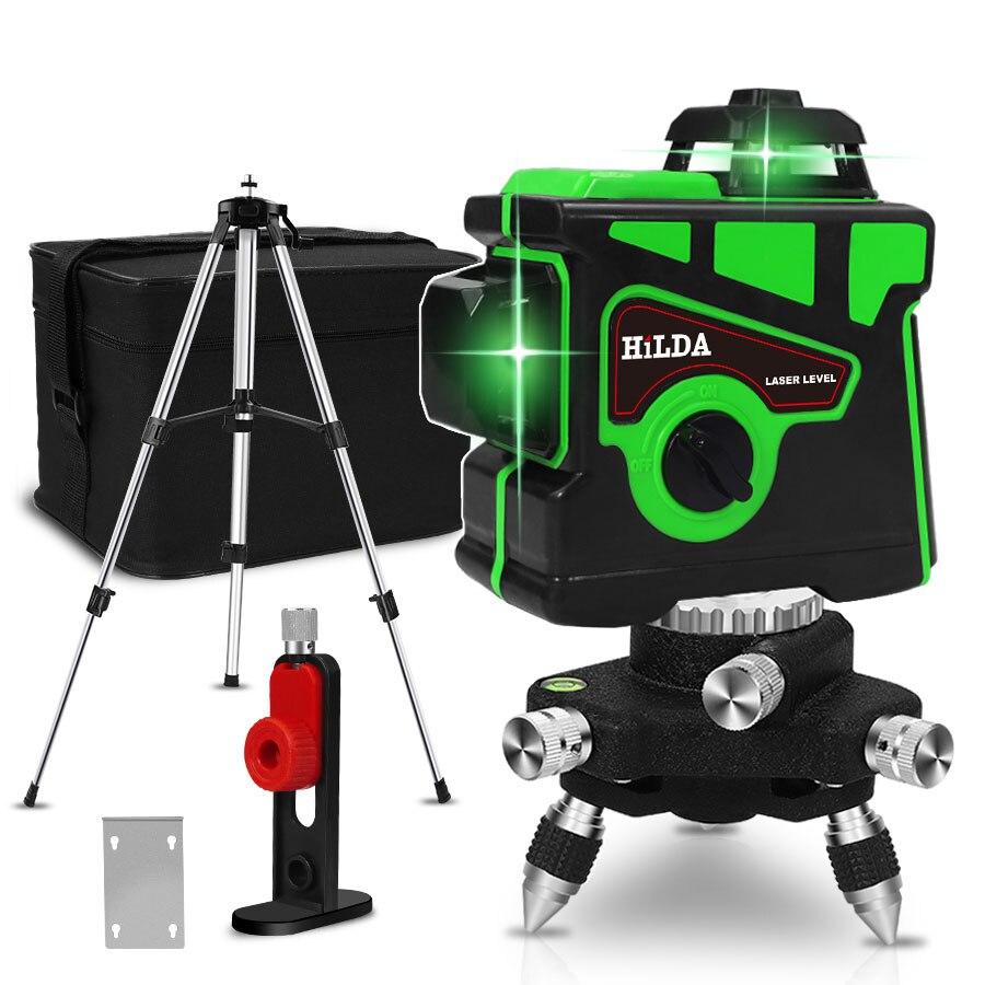 Linhas de nível laser 12 3d, auto-nivelamento 360 linha horizontal e vertical cruz super poderoso feixe de laser verde