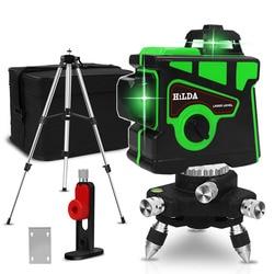 Nivel láser 12 líneas 3D, autonivelante 360, línea de haz de láser verde superpotente Cruz Horizontal y Vertical