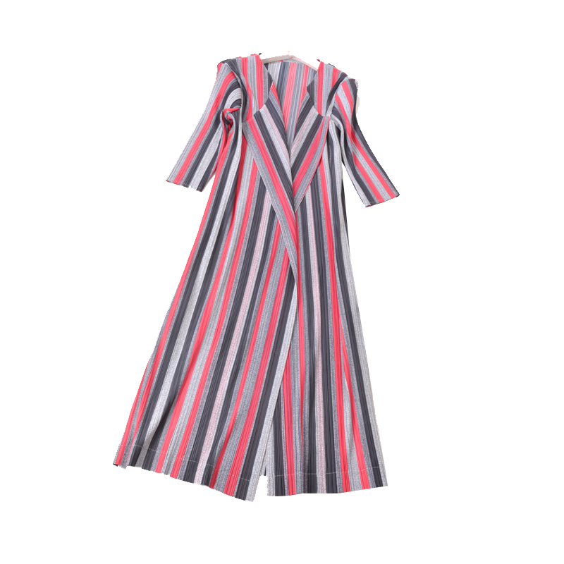 MIYAKE PLEATS striped trench long pleated windbreaker seven sleeves free shipping in Trench from Women 39 s Clothing