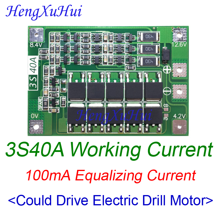 3S 40A BMS 18650 Lipo Battery Charger Protection Board BMS Drive Drill Motor 11 1V 12
