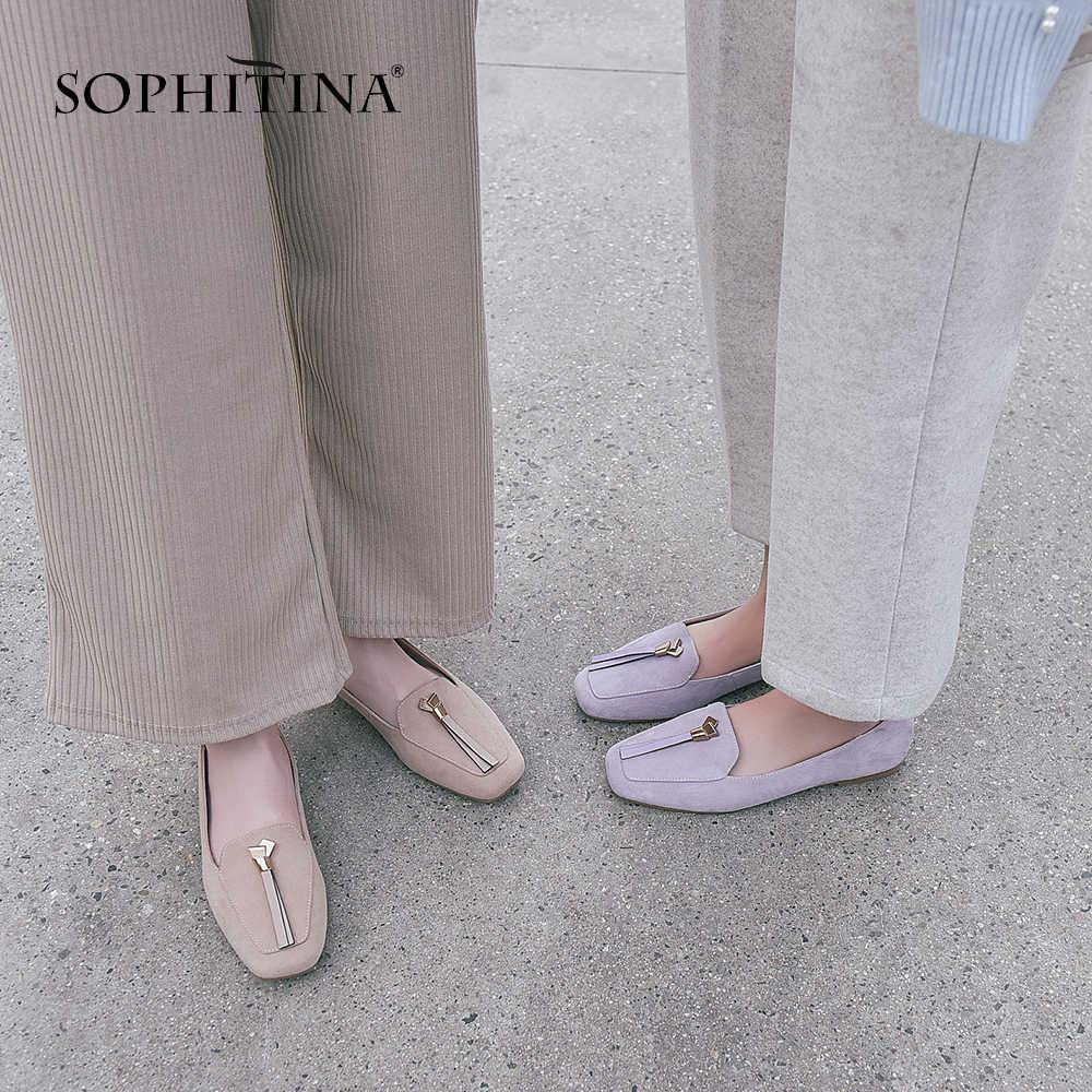 Sophitina Thoải Mái Cho Nữ Đế Bằng Chắc Chắn Thời Trang Mùa Xuân Viền Giày Handmade Kid Da Lộn Vuông Mũi Giày Nữ Đế Bằng SO56
